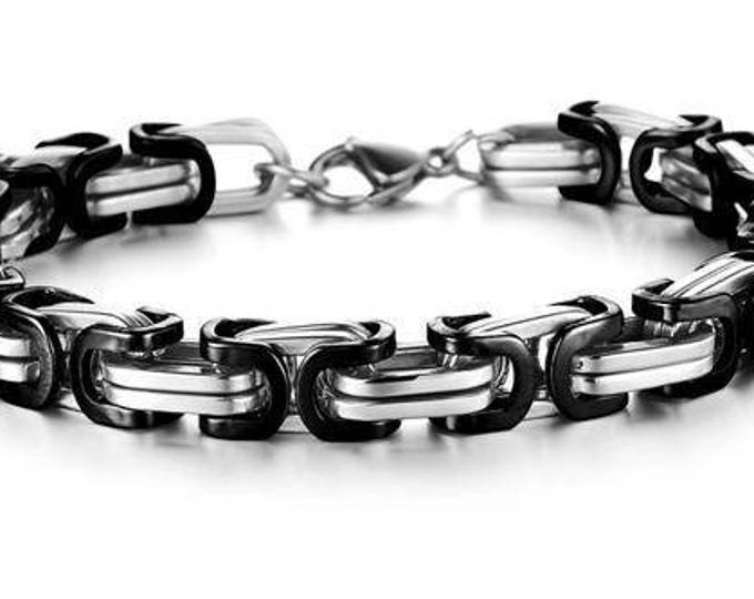 Bracelet Black and Silver Stainless Steel Mens  Byzantine Mechanic Link Style chain - 21. 5 cm
