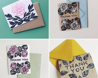 Block printed cards etsy card variety pack of 5 linocut block print greeting cards printed card set m4hsunfo