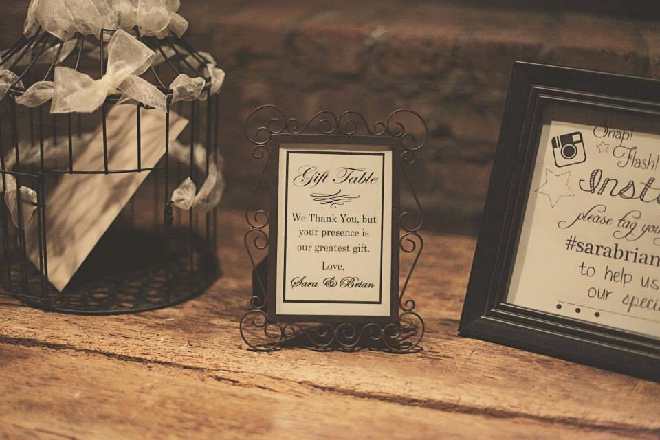 Wedding Gift Sign Reception Table Sign