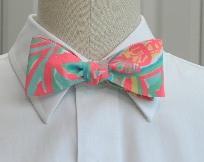 Men's Bow Tie, Make a Splash, neon coral/aqua Lilly print bow tie, beach bow tie, wedding bow tie, groom bow tie, groomsmen gift, prom tie
