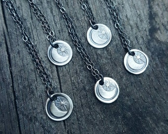Moon & Star Charm Necklace // MADE TO ORDER Crescent necklace. Sterling moon pendant. Celestial jewelry. Handstamped charm.