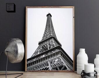 Eiffel Tower Print, Eiffel Tower Poster, Paris photography, Travel Wall Art, Eiffel Tower Photo, Black and white, Paris art print