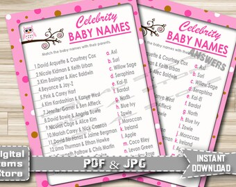 Owl Celebrity Baby Name Game - Baby Shower Celebrity Owl Pink Theme - Celebrity Baby Name Game Pink Owl - Instant Download - po1
