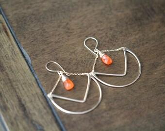 Chandelier Hoop Earrings , Carnelian Statement Hoops in Gold , Rose , Silver ,  Geometric Chevron - Tulip ( As Seen On Cedar Cove )