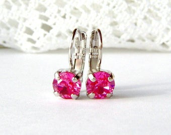 Pink rhinestone leverback earrings / Valentine gift / 6mm / Swarovski / BCA / pink crystal / gift for her / birthday / girlfriend gift