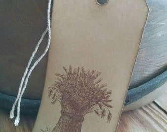 """Harvest Time gift tags, primitive, rustic, hand stamped gift tags, wheat bundle, sized 4 1/4"""" x 2 1/8"""", set of 12."""