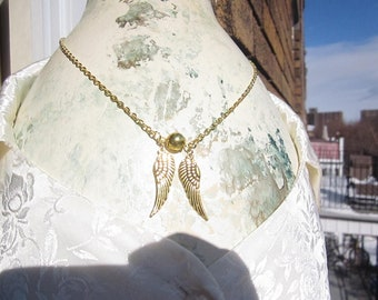 HARRY POTTER Gold Ball w. wings QUIDDITCH Snitch pendant w. Gold Pltd chain or Hermione Time turner hour glass sand necklace