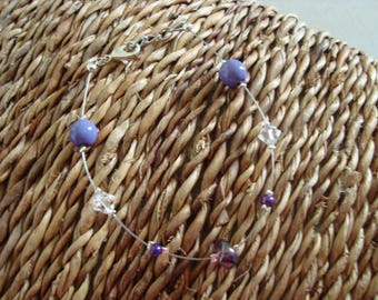 Simple white transparent and purple bracelet