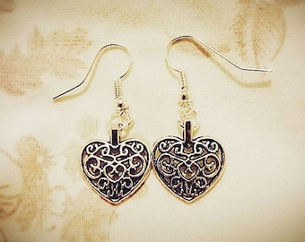 Open-work Heart Hooked Earrings