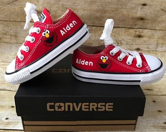 Elmo inspired Shoes - personalized chuck taylors - customized converse - Birthday swag low top converse