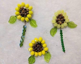 Sunflower Pin, Hand-beaded