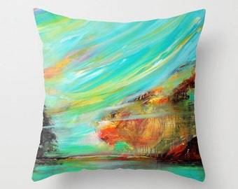Turquoise Pillow, Abstract Pillow Cover, Art Pillow, Blue Yellow Decorative Throw Pillow, Couch Cushions, Accent Pillows, Sofa Pillows