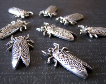 Silver Cicada Insect Charms Insect Jewelry Cicada jewelry Cicada Ring Cicada Earrings Cicada Bracelet 32mm by 19mm Lot of 5 by BySupply