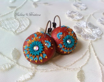 Lovely Floral Embroidered earrings, Unique Polymer Clay Earrings, Floral Filigree Earrings, Unique Gift