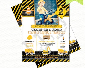 Construction Birthday Invitation, Dump Truck Invitation, Chalkboard Invitation - Style 9 - YOU PRINT