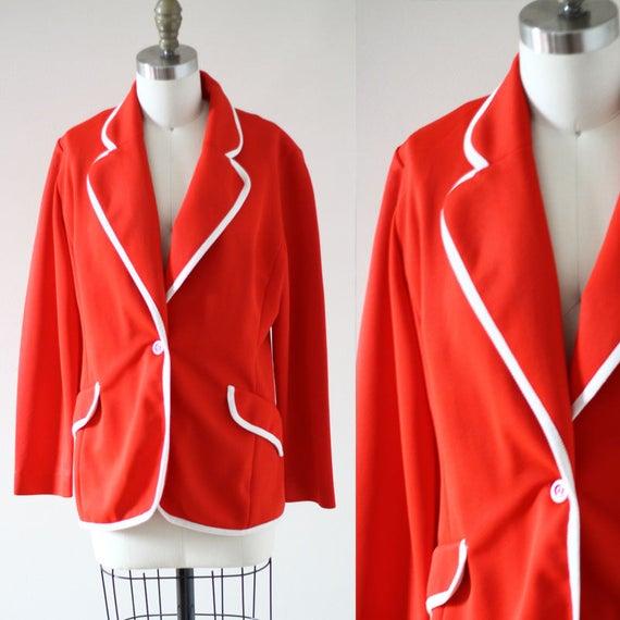 1970s red blazer // 1970s boyfriend blazer // vintage jacket