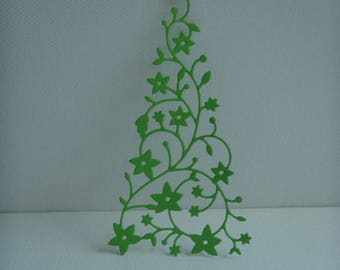 Cutout tree snow creation pale green drawing paper