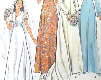 Butterick 3774 VTG 1970's Wedding Dress Pattern, (Size 8), Bride & Bridesmaid Dress. 1974 Dress Pattern, Long or Short Puffed Sleeves