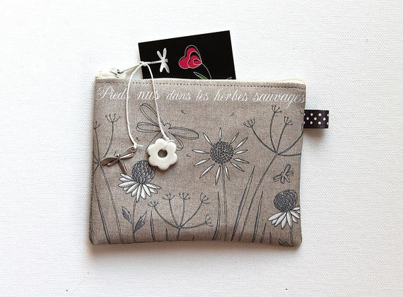 """Wallet shown natural linen """"barefoot in the weeds"""""""