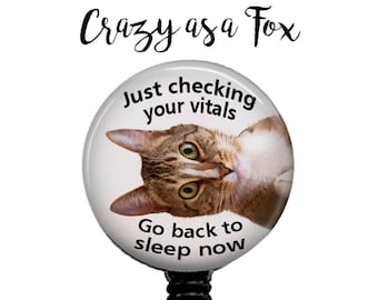 Just check your Vitals Funny Cat Retractable Badge Holder, Badge Reel, Lanyard, Stethoscope ID Tag, Nurse, RN, Nurses Gift