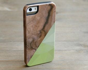 iPhone 6 Case Geometric Wood Print iPhone 5S Case, Wood  Case, Chartreuse Triangle iPhone 6S Case, Galaxy S6 iPhone 6 Plus Case