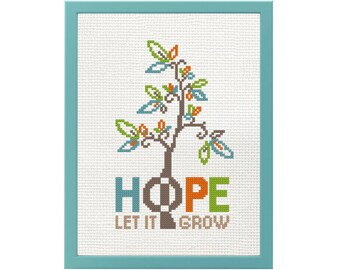 TREE cross stitch hope pattern, beginner cross stitch pdf, modern cross stitch, tree embroidery design easy cross stitch hope embroidery pdf
