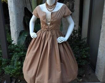 Vintage 1950's Lou-Ette Brown Dress with Lace Up Bodice - Size 00