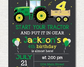 Tractor Birthday Invitation, Tractor Invite, Farmer Invitation, green, yellow, printable