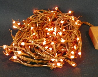 Silicone Teeny Bulbs on Brown Wire, 140 Primitive Multiple Function, 26 Ft of Lighted Indoor Lights