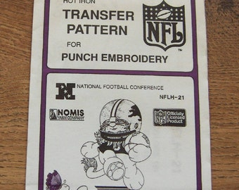 Vintage 80s pretty punch embroidery transfer pattern NFLH-21 Lions NFL  pkg sealed nip unused