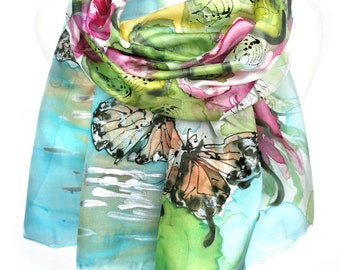 Butterflies Roses Scarf. Authentic Silk Art. Hand Painted Silk Shawl. Woman Birthday Gift. Lake Reflection. 18x71in MADE to ORDER