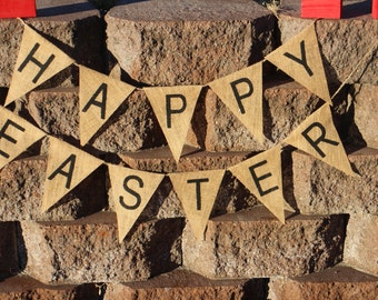 Happy Easter Burlap Banner.Happy Easter Burlap Garland.Easter Party Decor.Easter Home Decor.Happy Easter Banner.Happy Easter Garland.