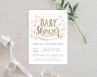 Baby Shower Invitation Template | Editable Invitation Printable | Baby Shower Invite Foliage White | No. PY 2112C White