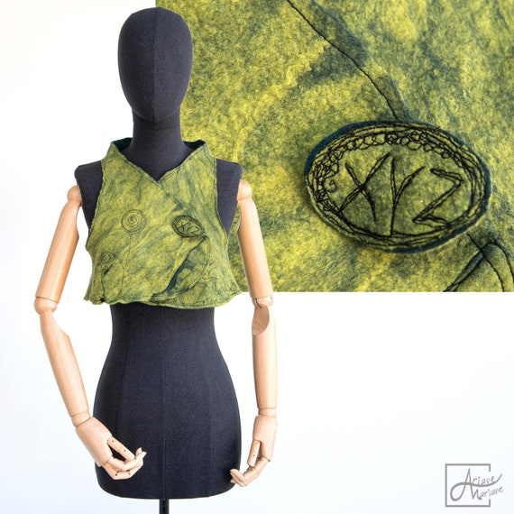 Juicy light kiwi green Wearable Art bolero vest - Felted Merino Wool Woman bolero- Reversible woman garment navy blue felt black embroidery