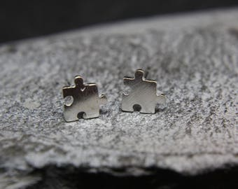 Puzzle Puzzle pieces Earrings with sterling silver filigree