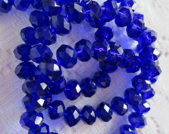 25  Dark Cobalt Blue Faceted Rondelle Crystal Beads  4mm x 6mm