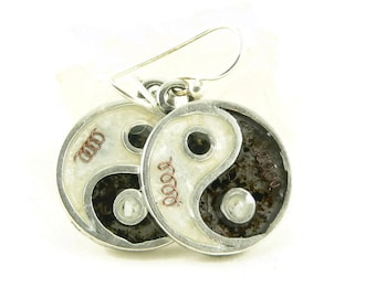 Orgone Energy Yin Yang Dangle Earrings - Choose Your Stone/Color Combination - Sterling Silver - Orgone Energy Jewelry - Artisan Jewelry