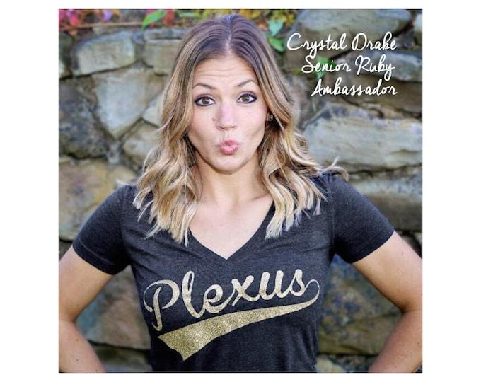 Featured listing image: Plexus Glitter Script V-Neck Tee  20276312215Jg