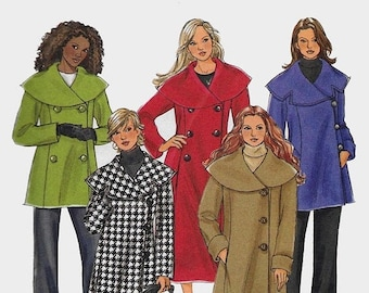 ON SALE Womens Classic Lined Coat Loose Fitting Over-Sized Collar ASYMMETRICAL or Double Breasted Butterick 4879 Sewing Pattern Size 18-24 U