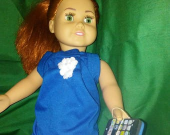 """18"""" doll Blue Summer dress with Smart phone"""