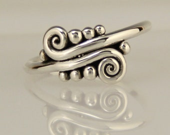 Sterling Swirl Ring/ Wave Ring/ Silver Double Scroll Ring/ One of a Kind Ring/ Victorian Ring/ Egyptian Ring/ Unique Ring/ Thumb Ring/ R1209