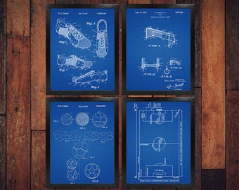 Sports blueprint etsy soccer patent blueprint poster 4 set soccer gift soccer art sports decor malvernweather Choice Image