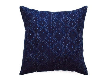 African Indigo Mudcloth Pillow Cover, Tribal pillow cover  - REF: WAVE / Made to order