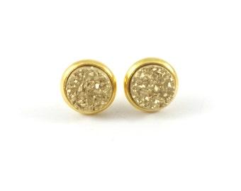 Druzy Earrings, Druzy Studs, Faux Druzy Earrings, Gold, Druzy Earrings, Post Earrings, Gold Studs, Bridesmaid Gift