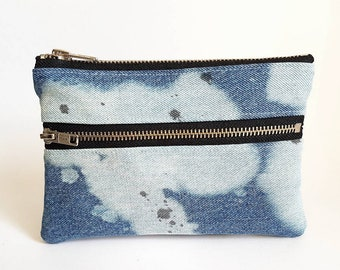REPURPOSED Denim Pouch. Double Zipper Pouch. Bleached Denim. Upcycled Jean Pouch. Upcycled Leather. Denim Wallet. Galaxy. Ready To Ship.