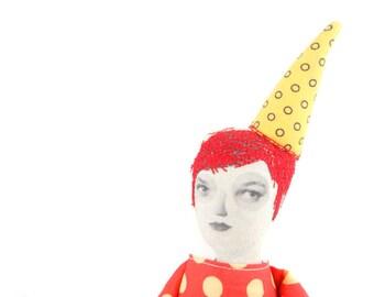Redhead doll , textile doll art , ooak dolls , fashion doll , Collage doll , cloth doll , housewarming gifts , soft sculptural , decor doll