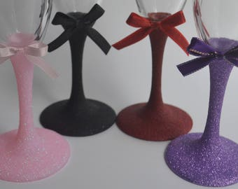 Glittered Stem Drinkware Glasses (Champagne, Large Wine, Small Wine, Martini, Margarita)