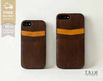 iPhone X Leather Case iPhone 8 iPhone 8 Plus iPhone 7 iPhone 7 Plus Card Case Bumper Cover [Handmade] [Custom Colors]