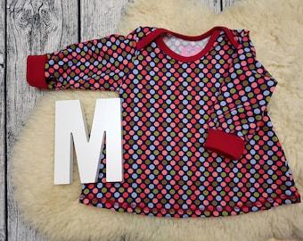 Tunic, baby tunic, American neckline, long sleeve tunic, longsleeve, gift, baby, Mitwachstunkia, dots, polka dots