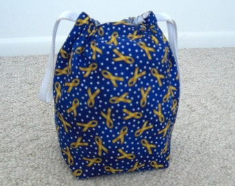 CLEARANCE SALE - Soldier's Yellow Ribbon Drawstring Knitting Project Bag